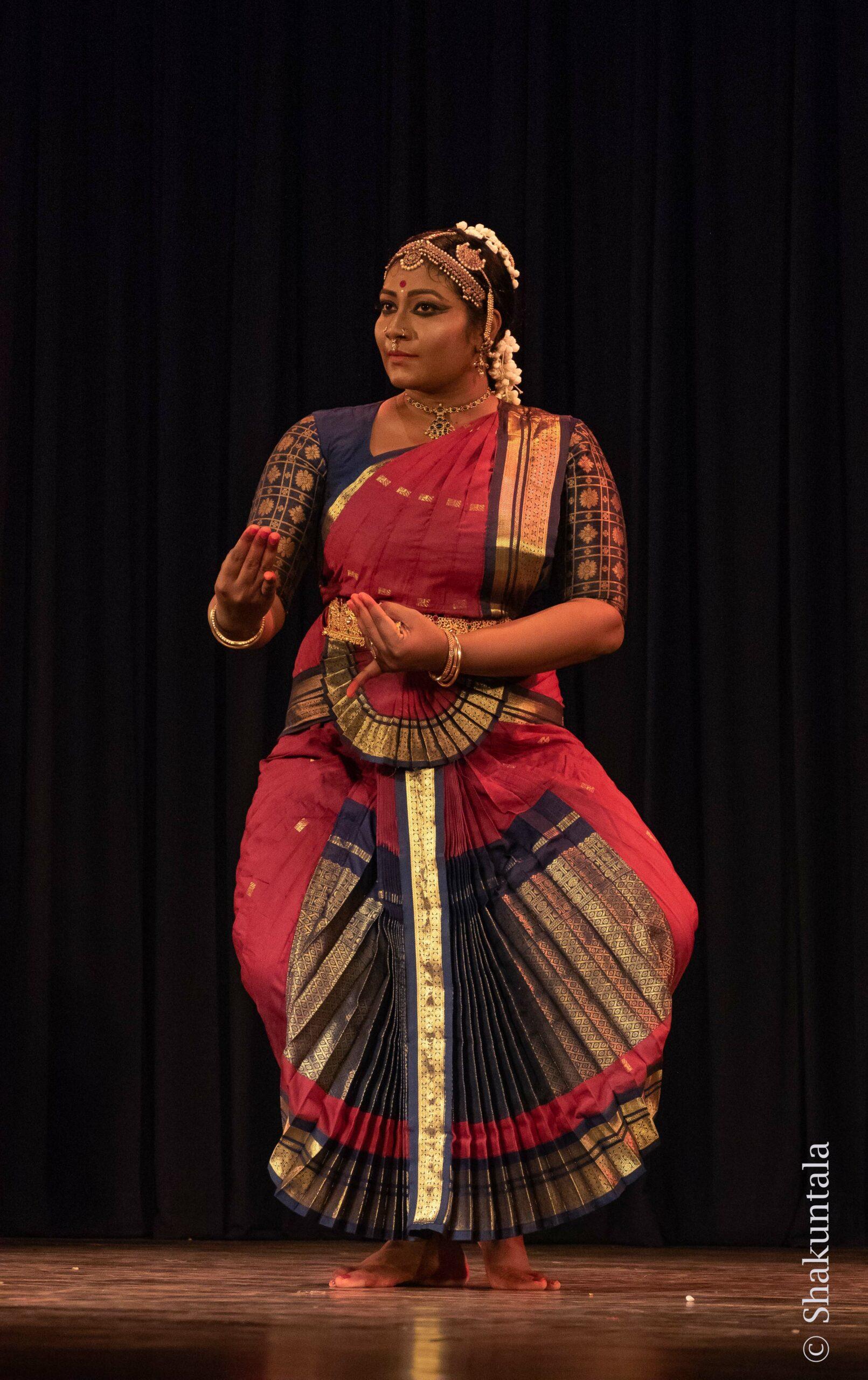 Indian Bharathanatyam dancer gesturing